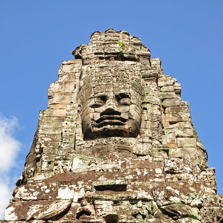 siem: Face of Bayon temple in Angkor Thom, Siem Reap, Cambodia.