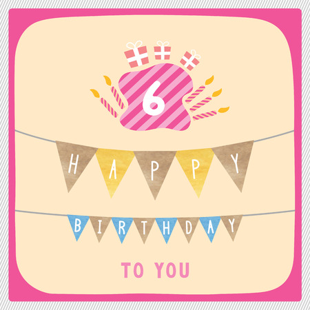 6th: Happy 6th birthday anniversary card with gift boxes and candles. Illustration