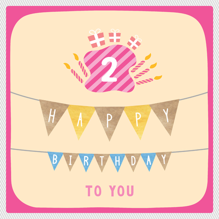 2nd: Happy 2nd birthday anniversary card with gift boxes and candles.