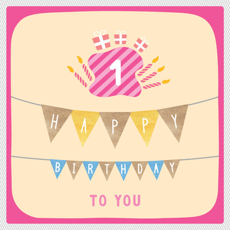 1st birthday: Happy 1st birthday anniversary card with gift boxes and candles.