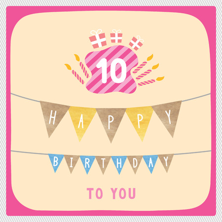 10th: Happy 10th birthday anniversary card with gift boxes and candles. Illustration