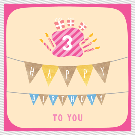 third birthday: Happy 3rd birthday anniversary card with gift boxes and candles. Illustration