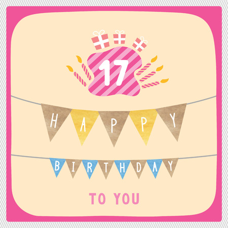 17th: Happy 17th birthday anniversary card with gift boxes and candles. Stock Photo