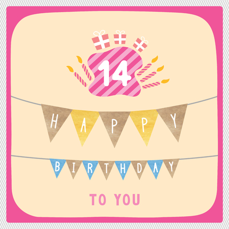 14th: Happy 14th birthday anniversary card with gift boxes and candles. Stock Photo
