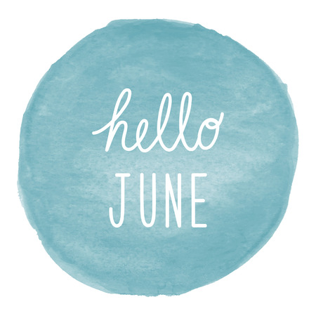 Hello June greeting on blue watercolor background. Stock Photo