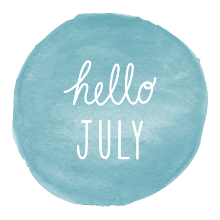 Hello July greeting on blue watercolor background. Stock Photo