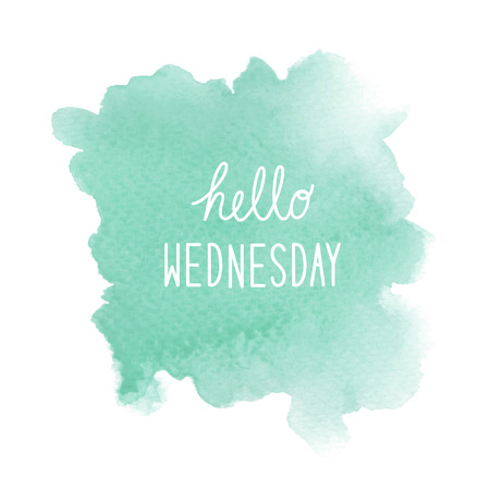 wednesday: Hello Wednesday text on green watercolor background. Stock Photo