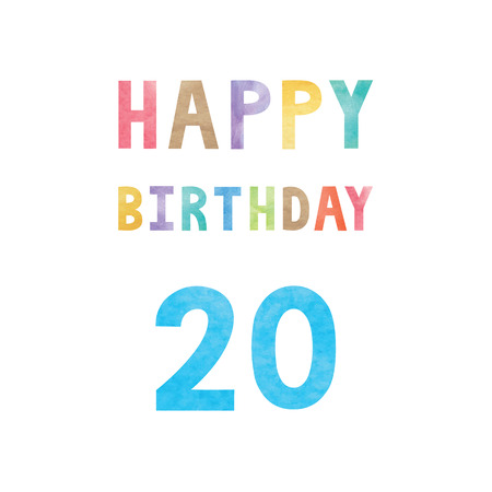 20th: Happy 20th birthday anniversary card with colorful watercolor text on white background.