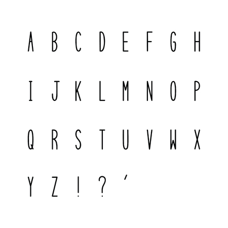Hand drawn narrow alphabet. Uppercase tall and thin letters on white background for design.