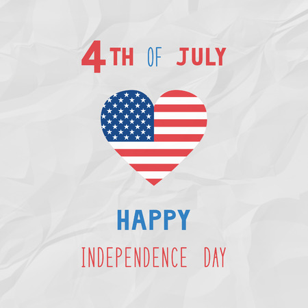 crinkle: Happy 4th of July on white crinkle paper background. Independence Day of United States of America. Stock Photo