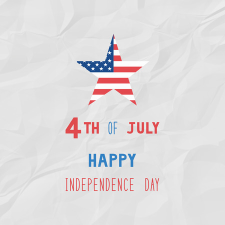 unfolded: Happy 4th of July on white crinkle paper background. Independence Day of United States of America. Stock Photo