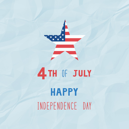 crinkle: Happy 4th of July on blue crinkle paper background. Independence Day of United States of America.