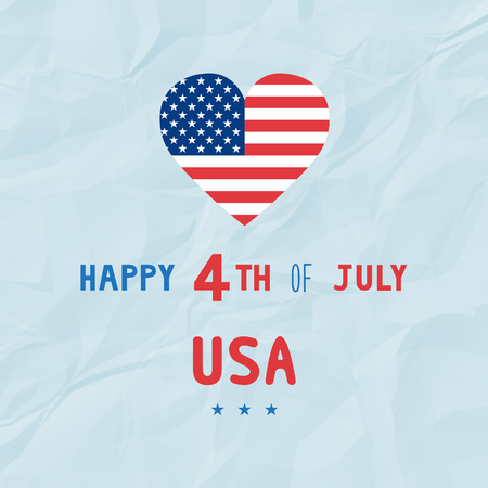 unfolded: Happy 4th of July on blue crinkle paper background. Independence Day of United States of America.