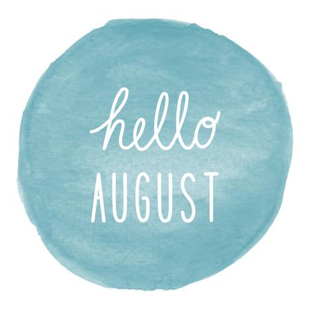 Hello augustus groet op blauwe aquarel achtergrond. Stockfoto