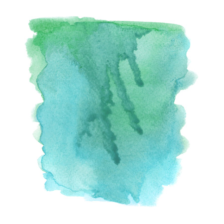 Green and blue grunge watercolor on white background. Stock Photo