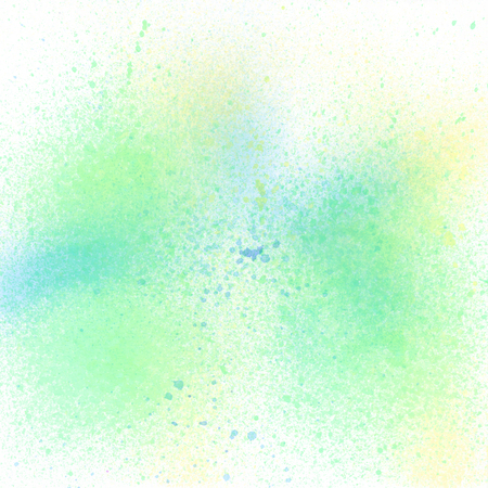 Green blue and yellow spray paint on white background.
