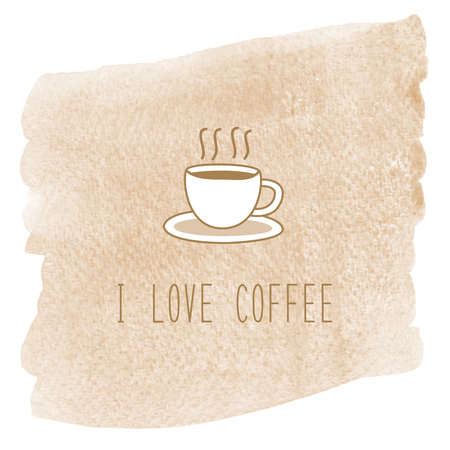 I love coffee lettering with coffee cup on brown watercolor background.