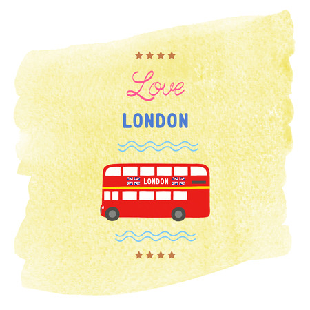 Love London card with yellow watercolor background. Stock Photo
