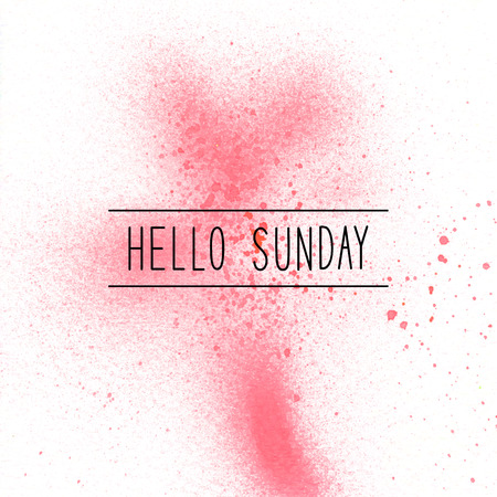 Hello Sunday text on red spray paint background.
