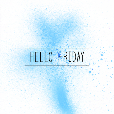 Hello Friday text on blue spray paint background. Stock Photo