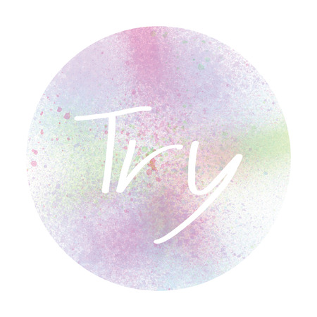 Try text with pastel watercolor circle on white background.