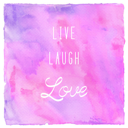 Live laugh love. Inspirational quote on colorful watercolor background. Stock Photo