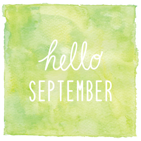 september: Hello September text on green watercolor background. Stock Photo