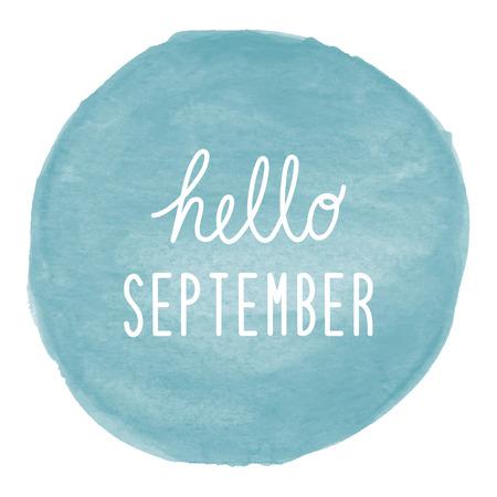 Hallo September-groet op blauwe waterverfachtergrond.