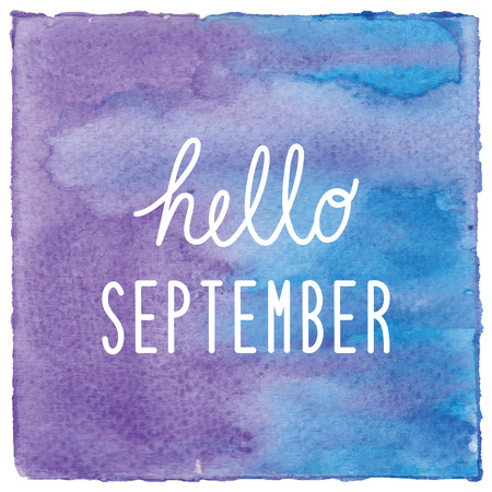 Hello September on blue and violet watercolor background.