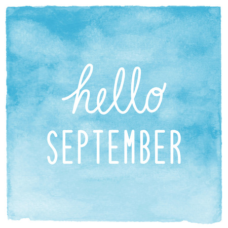 september: Hello September text with blue watercolor background.
