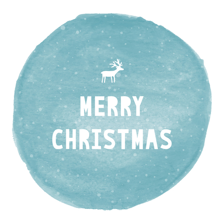 christmas watercolor: Merry Christmas lettering on blue watercolor circle.