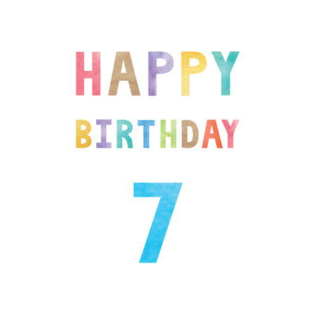 Happy 7th birthday anniversary card with colorful watercolor text on white background. Illustration