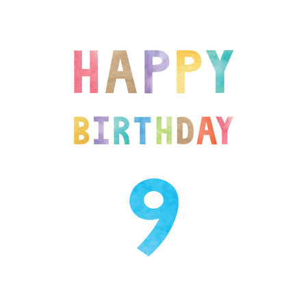 9th: Happy 9th birthday anniversary card with colorful watercolor text on white background.