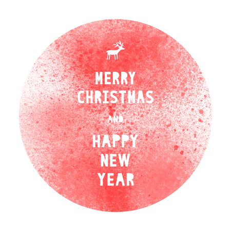 Merry Christmas and happy new year with red watercolor circle on white background. Stock Photo