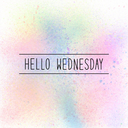 wednesday: Hello Wednesday text on pastel watercolor background.