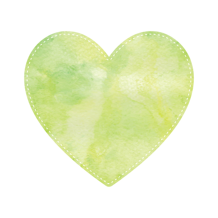 yellow heart: Green and yellow heart on white background. Illustration