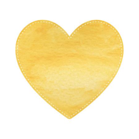 yellow heart: Yellow heart on white background. Illustration