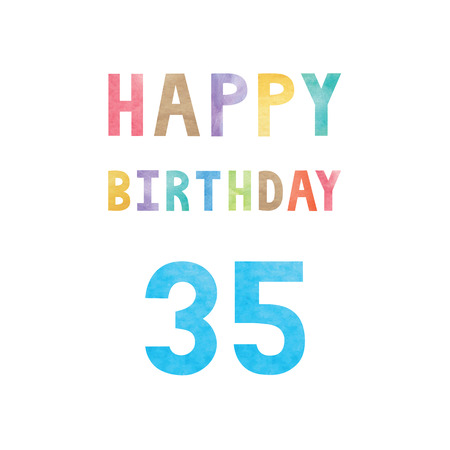 35th: Happy 35th birthday anniversary card with colorful watercolor text on white background.
