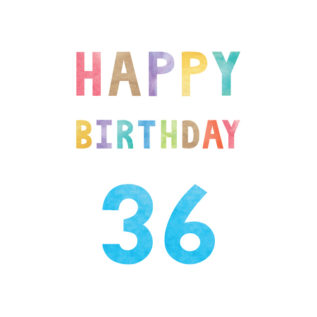 Happy 36th birthday anniversary card with colorful watercolor text on white background.
