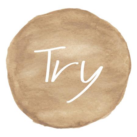 to try: Try text on brown watercolor background. Stock Photo