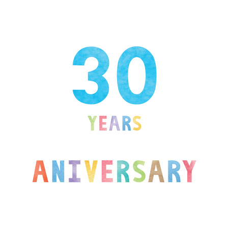 30 years anniversary celebration card with colorful watercolor text on white background.