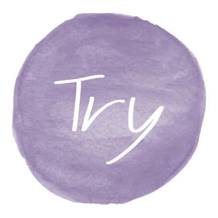 Essayez texte sur le violet fond d'aquarelle.