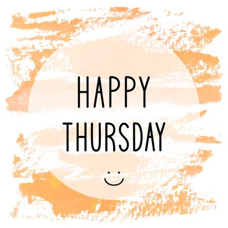thursday: Happy Thursday text on orange watercolor background. Stock Photo
