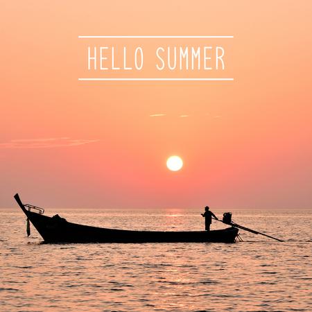 Hello summer greeting on sea view at Lipe island, Satun, Thailand.