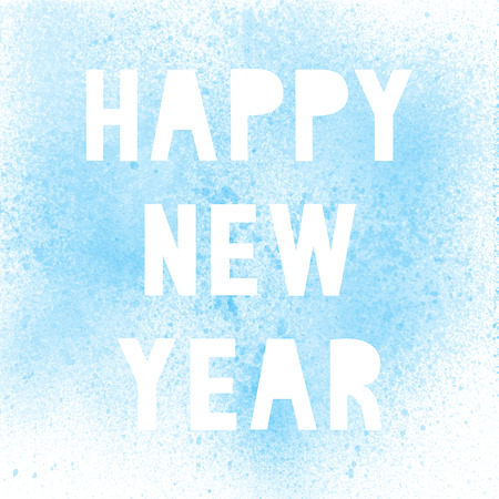 Happy new year with blue spray paint on white background.