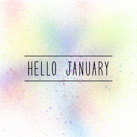 Hello January text on pastel spray paint background.