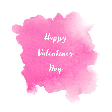 Happy Valentine s day lettering on pink watercolor background.