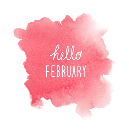 Hello February greeting with red watercolor background. Stock Photo