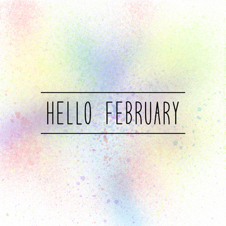 Hello February text on pastel spray paint background. Banco de Imagens