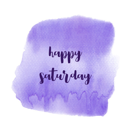 Hello Saturday text on violet watercolor background.